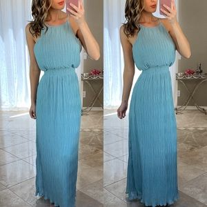 ASTR Teal Blue Pleated Halter Ruffle Maxi Dress